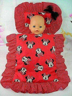 Dolls~ Red Minnie Mouse~ Pillow & Quilt Cover Set For~ Bed, Cot, Pram, Cradle