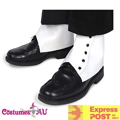 Mens 20s White Spats with Black Buttons Gangster Party 1920s Costume Accessories