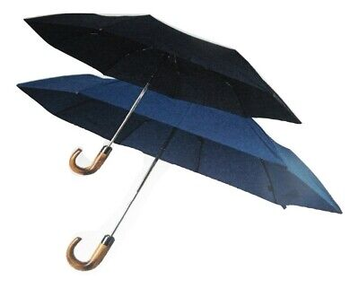 Shelta Mens Compact Rain Sun Umbrella - 6600 Auto Open/Close Wood Crook Handle