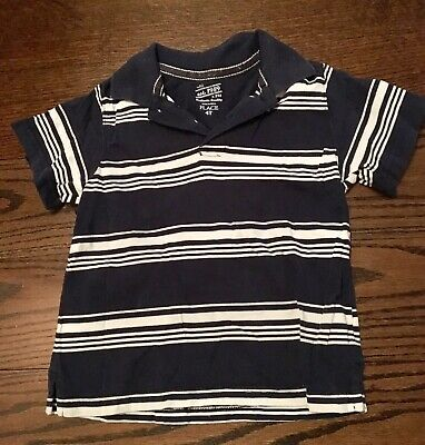 The Childrens Place short sleeved navy blue & White striped polo shirt - 4T