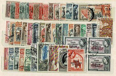 10790- Gold Coast, British Colonies, collection of stamps. All different.