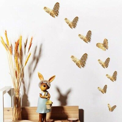 Gold & Silver 3D Butterfly Wall Stickers Art Decals Home Room Decorations DIY