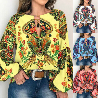 Womens Long Sleeve Blouse Shirt Ladies Boho Floral Casual Top TShirt Pullover