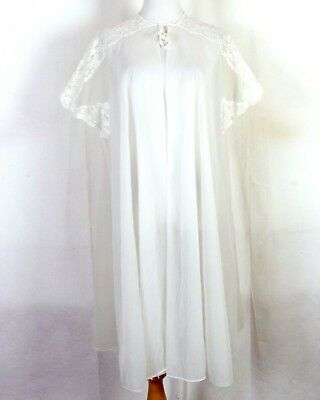 vtg 40s 50s Kayser Ladies Sheer White Chiffon Peignoir Robe Bridal Lingerie sz S