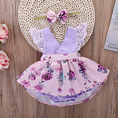 AU 2PCS Toddler Baby Girl Floral Dress Summer Casual Headband Clothes Outfit Set