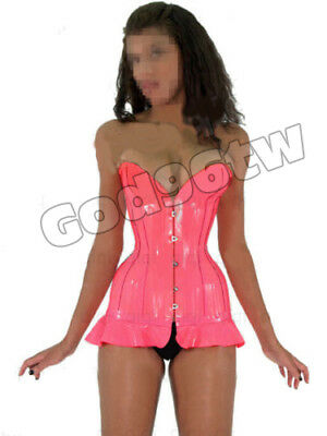 100%Latex/rubber 0.45mm Cup Corset Bustier Top lace up bone catsuit costume pink