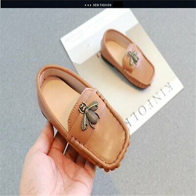 Casual Toddler Kids Boys Girls Loafers PU Korean Shoes Rubber Outsole Flats New