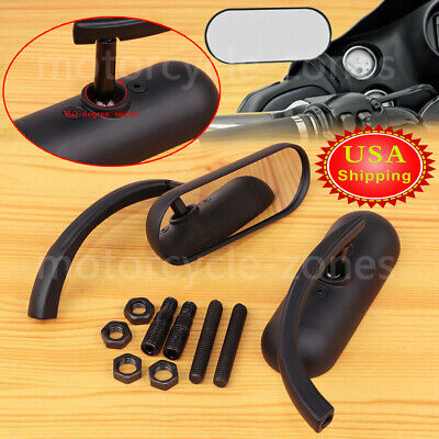 Motorcycle Black Mini Oval Mirrors For Harley Dyna Softail Sportster Touring BF1