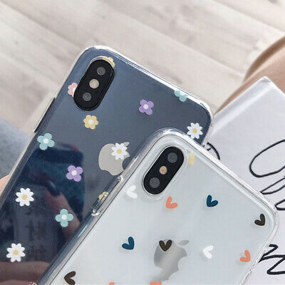 Cute Flower Heart Clear Rubber Soft Case Cover For iPhone XS Max XR 8 7 6s Plus