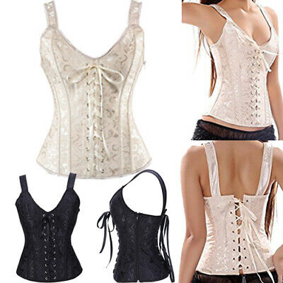 Women Jacquard Bustier Corsets Top Burlesque Basque Moulin Boned Fancy Dress DHM