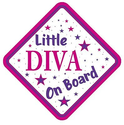 Little Diva On Board Car Window Sign Non Personalised - Pink Purple