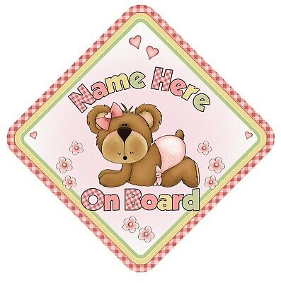 Personalised Baby On Board Car Window Sign - Cute - Child Baby Safety