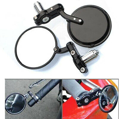"""Motorcycle 3"""" Round 7/8"""" Handle Bar End Mirrors Cafe Racer Bobber Clubman Pair"""