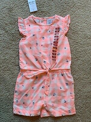 GIRLS SIZE 18 MONTHS CARTER/'S PINK FLORAL PRINT ROMPER ONE PIECE NEW #825