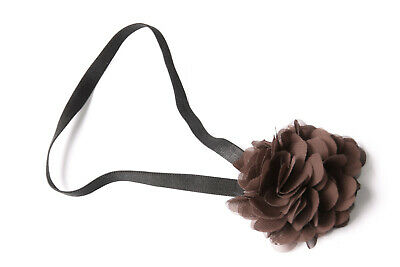 Black Elastic Headband Multi-Layer Brown Front Flower Elegant Girls Trend (S606)