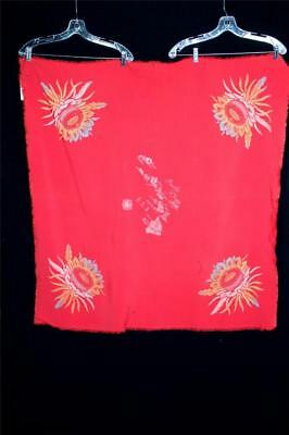 "Rare Vintage 1940'S Hawaiian Islands Red Rayon Collectors Tablecloth 41"" X 41"""