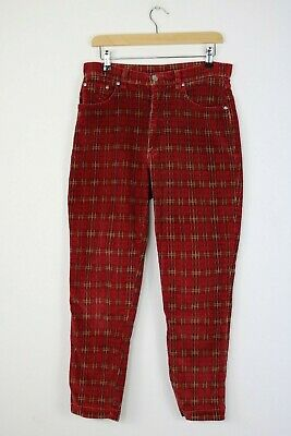 Vintage PETER GOLDING LONDON UK 12 Stretch Cotton Corduroy Red Check Mom Jeans