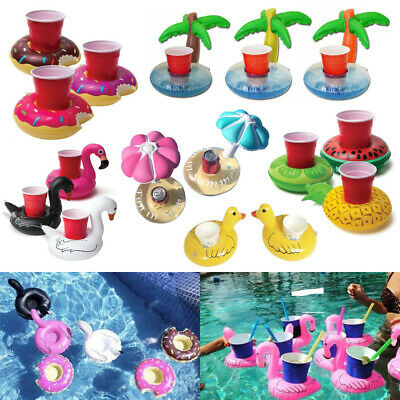 Fruit Donut Swimming Pool Inflatable Drink Can Beer Holder Summer Party Toy Boat