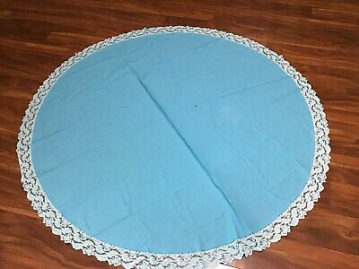 "Vintage Round Tablecloth Baby Blue With Lace 63"" Has One Hole"