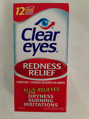 CLEAR EYES REDNESS RELIEF EYE DROPS BURNING DRYNESS 15ml 0.5l.oz. FREEPOST UK