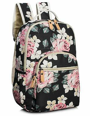 Leaper Floral School Backpack Girl Travel Bags Women Satchel Black Grader Book