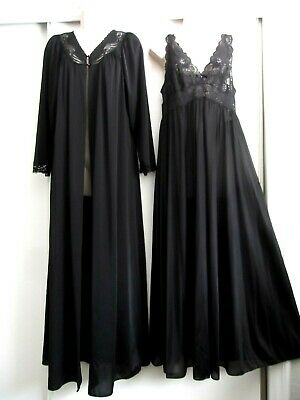 Vintage Shadowline Nightgown & Robe~Black ~Stretch Lace Bodice - Size Med/Large