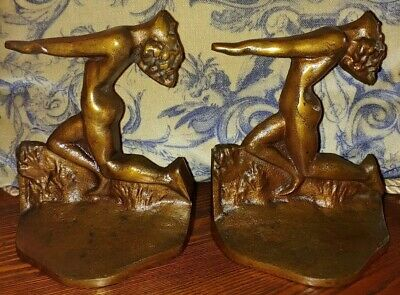 Cast Iron~Copper Flashed~Bookends~Art Nouveau~Art Deco~Vintage