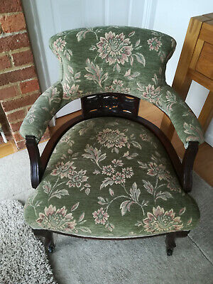 Antique Victorian Edwardian style tub upholstered bedroom chair