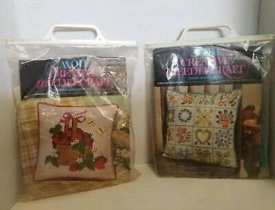 Lot of 2 Vtg Avon Floral Flowers Strawberries Crewel Embroidery Pillow Kits