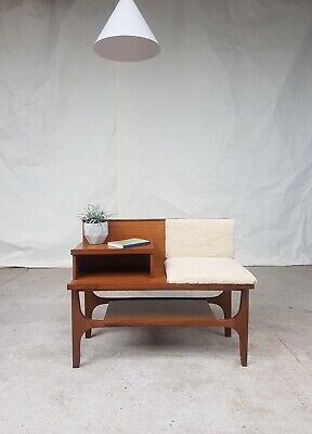 Vtg Mid Century Reupholstered Hallway Telephone Chair Table Bench Stool Seat