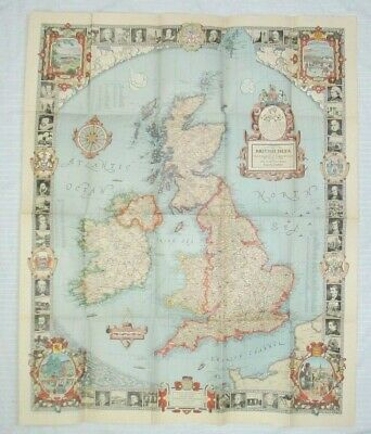 Pre-WWII 1937 National Geographic Pilgrim's Map of the British Isles