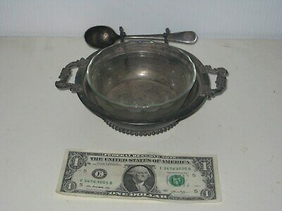 3 Pc Antique Ornate Colonial Silver Co Pewter Relish Sauce Dish Portland Maine