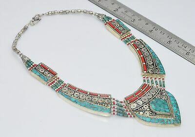 925 TIBETAN SILVER TURQUOISE RED CORAL NECKLACE-18 INCH Eh656