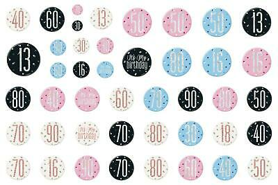 """Birthday Party  3"""" BADGE All Milestone Ages   (Blue, Pink ,Black, Rose Gold)"""