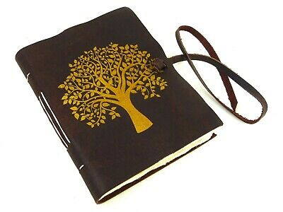 Tree of Life Real Leather Journal, Notebook, Travel, Natural Lokta, Screen Print