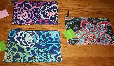 Vera Bradley PENCIL PEN Pouch CASE 4 BACKPACK Tote SCHOOL Art BLUE PINK Or RED
