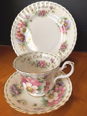 Royal Albert Flower of the Month Teacup saucer Luncheon plate EUC October Cosmos