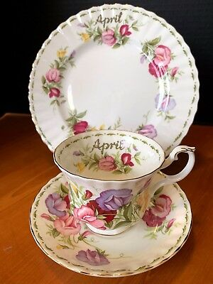 Royal Albert Flower of the Month Teacup saucer lunch plate EUC April Sweet Pea