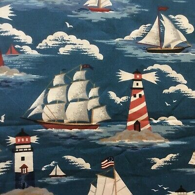 Fabric Cotton Print Lighthouse Sailboat Ships Boats Quilt Craft 4 Yd X 44 New