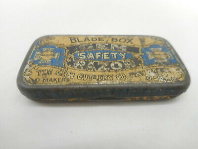 Antique Gem Cutlery Safety Razor Blade Tin Litho Box with Blade Shave Shaving