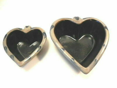 Rowe Pottery - Heart Shaped Serving Bowls Lg 1995 - Sm 96 - Very Nice!