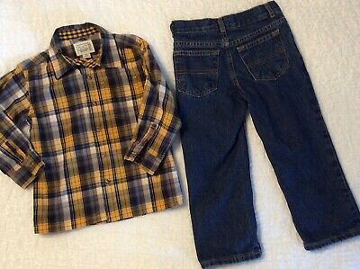 Jumping Beans 4T Boys Straight Ajd Waist Jeans & Place Shirt~SHIPS FREE