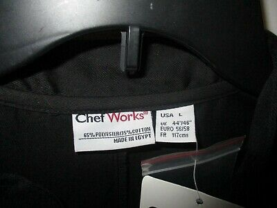 NEW Chef Works  Chef Coat Jacket - Black New with Tags Kitchen Cook