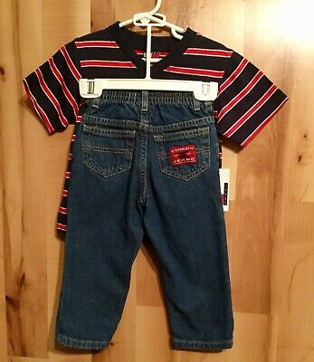 Tommy Hilfiger Boys 18-24 Months Toddler Striped Shirt & Jeans Set Short Sleeves