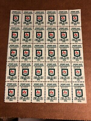Vintage S & H Green Stamps, Sheet Of 30 Stamps, 1 2/3 Mills, 652EV-937