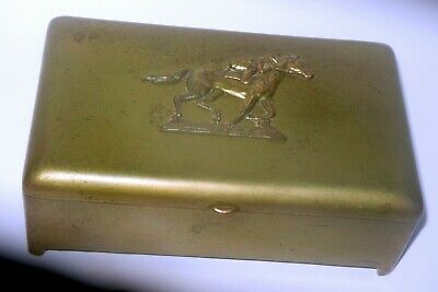 Vtg CIgarette Tobacco Box Brass JB Jennings Bros HORSE JOCKEY equestrian