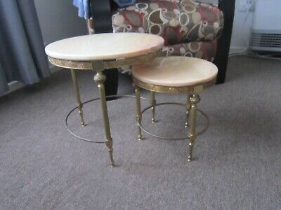 Loverly Antique Nest Of Two Brass And Marble Occasional Side Tables