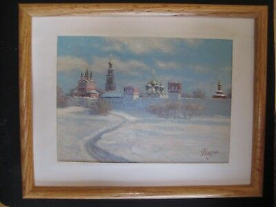 Russian Impressionist Miniature Oil Painting Moscow Church Signed Ryndin Framed
