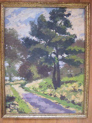 Mystery Antique American Impressionist Landscape Oil Painting Signed Vintage Old