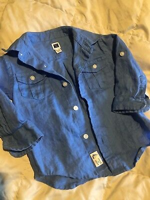 Janie And Jack Infant Baby Blue Chambray Shirt Button Up Size 6-12 Months
